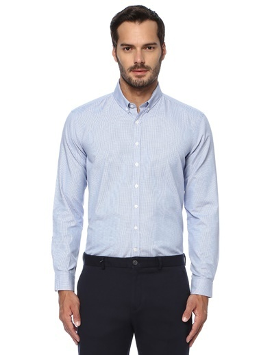 George Hogg George Hogg Düğmeli Yaka Uzun Kollu Slim Fit Erkek Gömlek Mavi